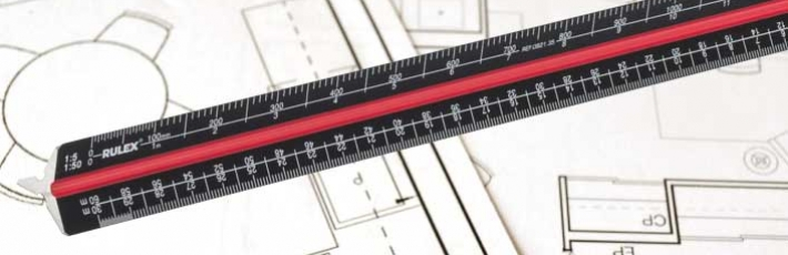 Black metal triangular scale rulers